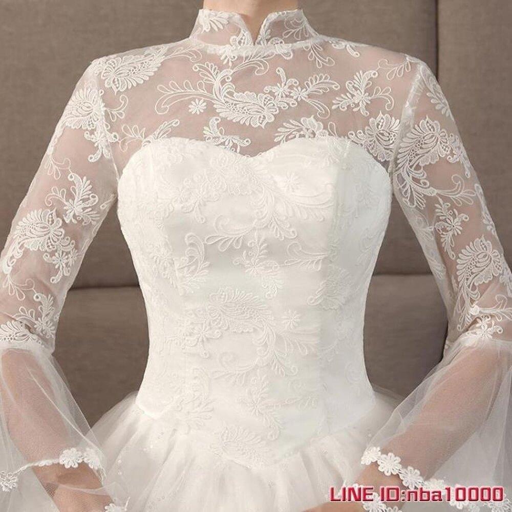 婚紗禮服新款蕾絲立領齊地婚紗公主夢幻新娘韓式修身顯瘦森繫 CY潮流站