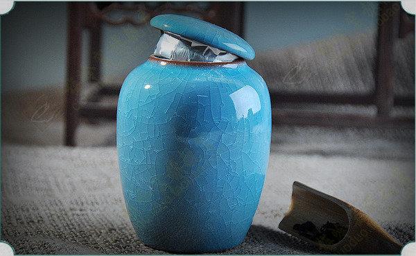 冰裂茶葉罐 陶瓷茶葉罐 多款花色茶葉罐冰裂釉茶葉罐(圖一)