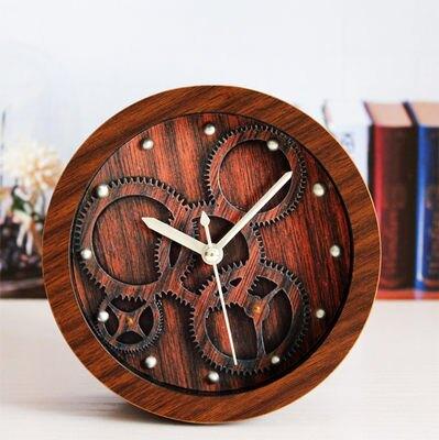 3D立體齒輪鬧鐘(咖啡色)