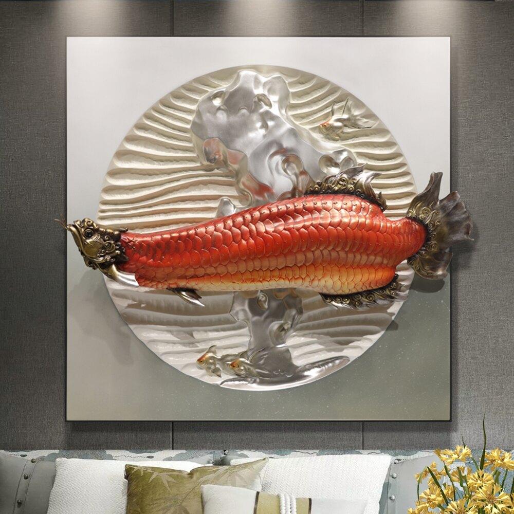 客廳沙發背景墻裝飾畫新中式立體浮雕畫餐廳玄關掛畫過道走廊壁畫 尺寸:80*80 MKS免運 清涼一夏钜惠