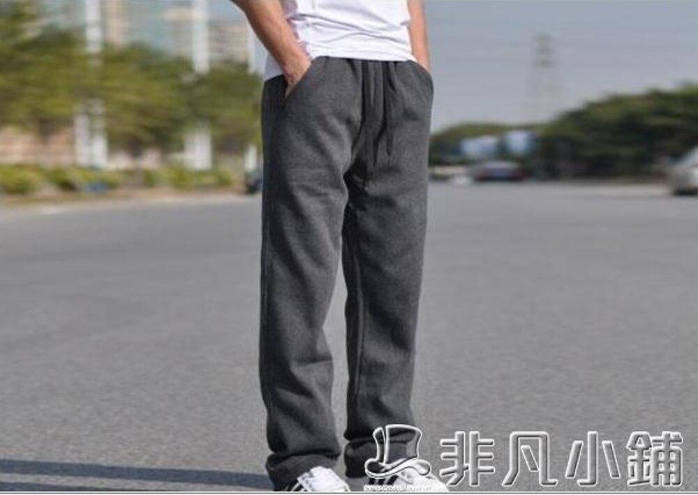 運動褲 男士棉質運動褲加肥加大碼男裝寬鬆直筒休閒褲衛褲   非凡小鋪
