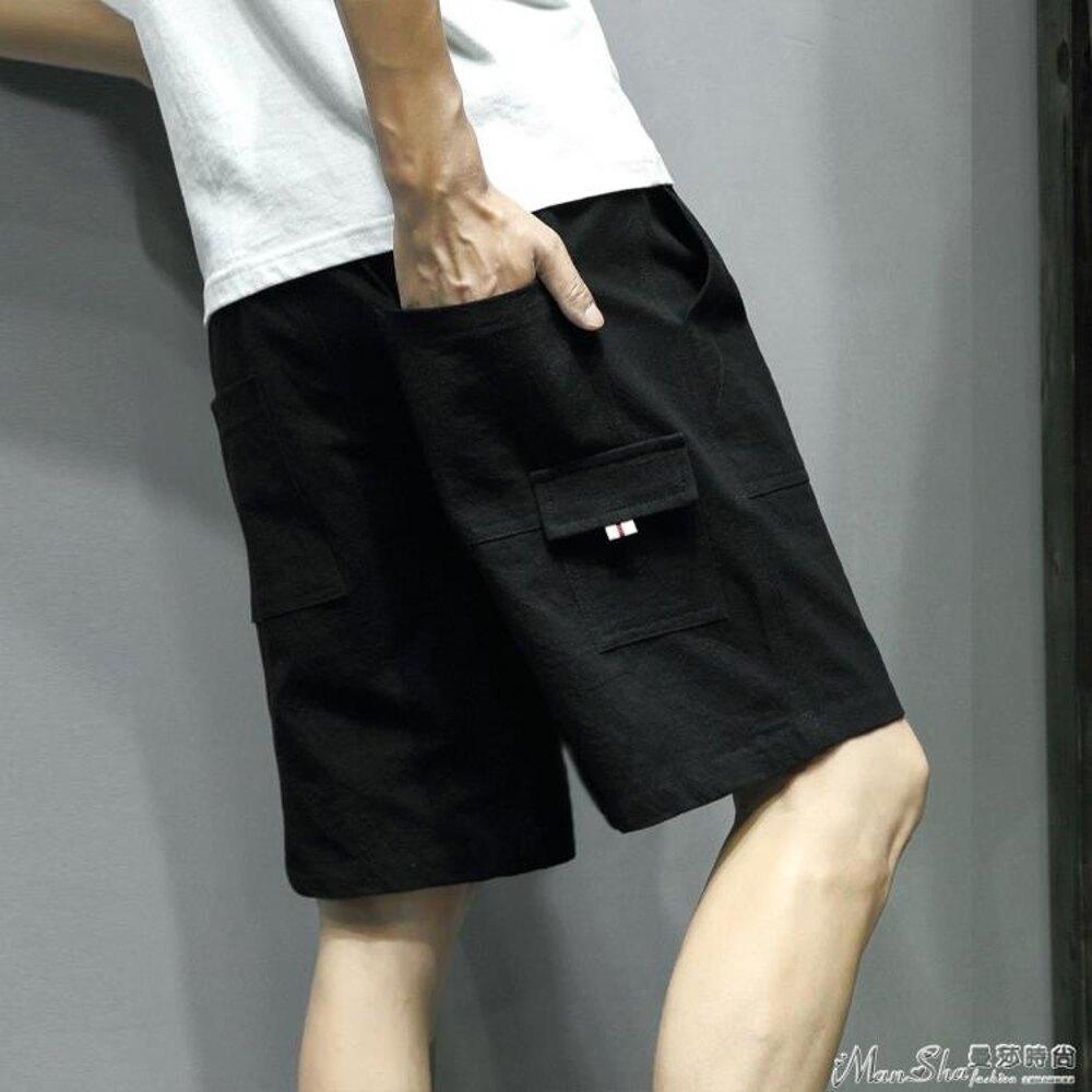 運動褲夏季百搭休閒褲短褲男士加肥大碼寬鬆運動沙灘 年貨節預購