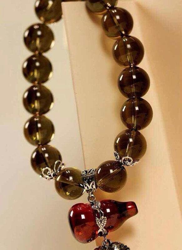 泰銀茶晶手鏈石榴紅大葫蘆銀飾品 高檔女士手鏈