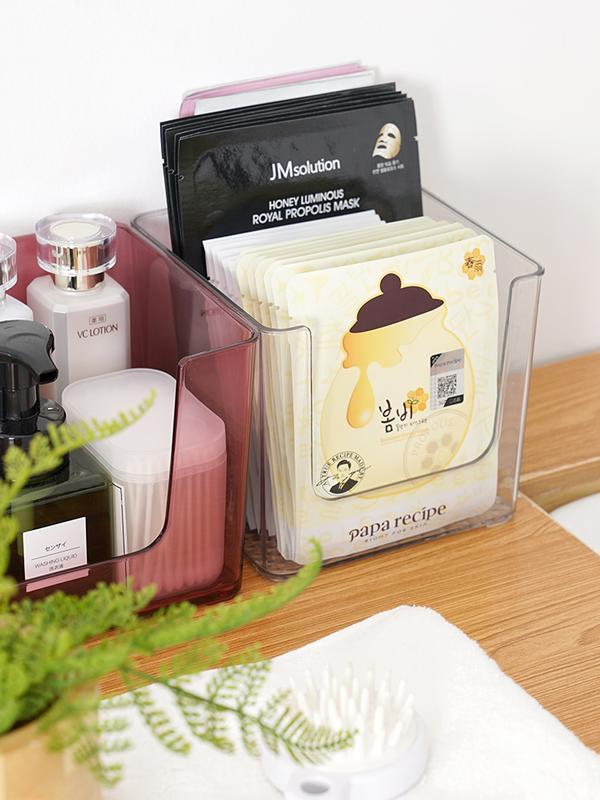 面膜收納盒家用宿舍桌面亞克力放裝化妝品的盒子浴室護膚品置物架1入