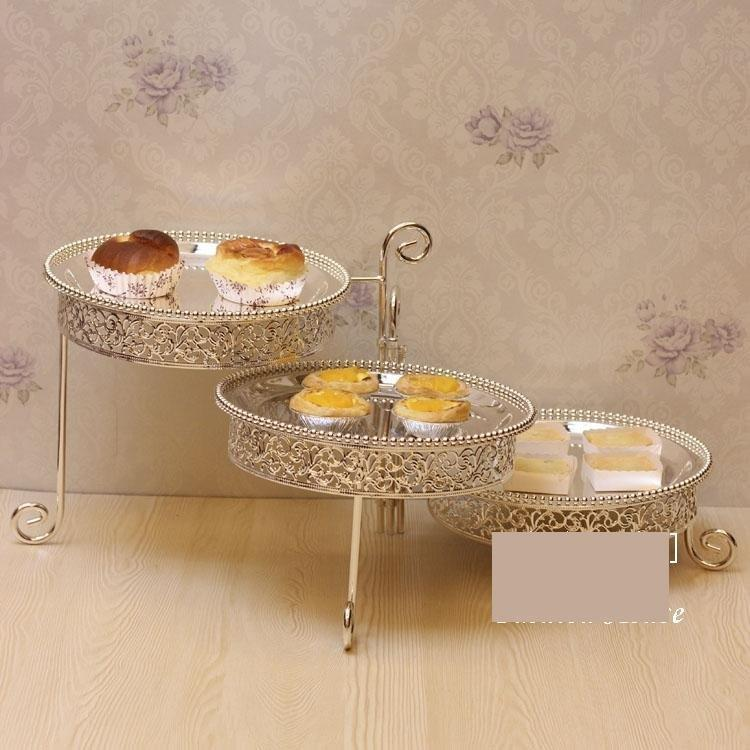 工藝品 家居用品 鍍銀金屬3層蛋糕盤 創意水果盤架子 婚慶水果盤