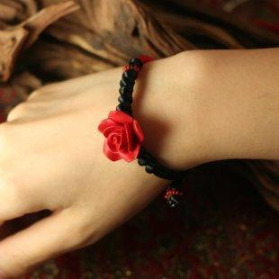 鳳凰涅磐手鏈女複古玫瑰雕漆手工編制蠟線DIY首飾