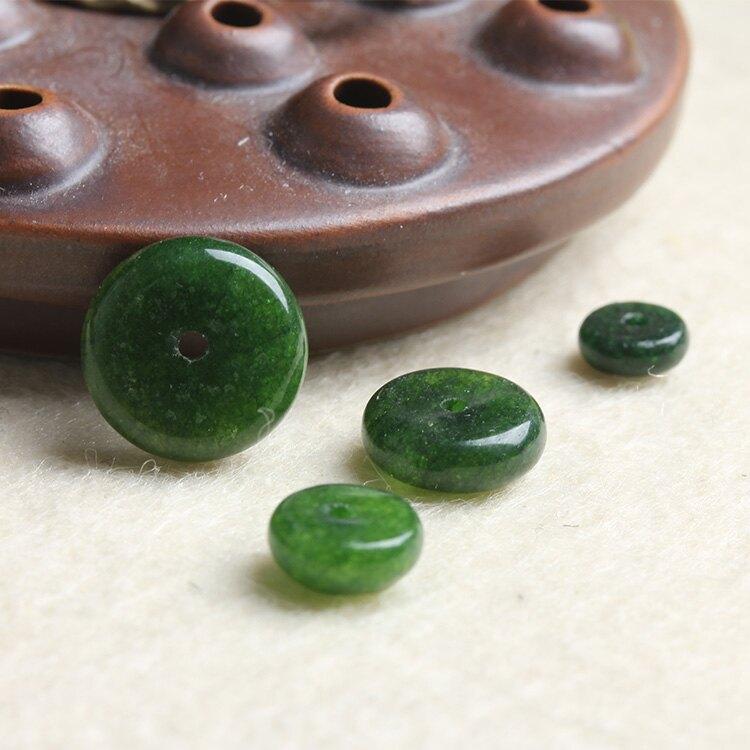 [超豐國際]半成品手鏈配件墨綠色玉髓隔片DIY水晶飾品手工飾1入