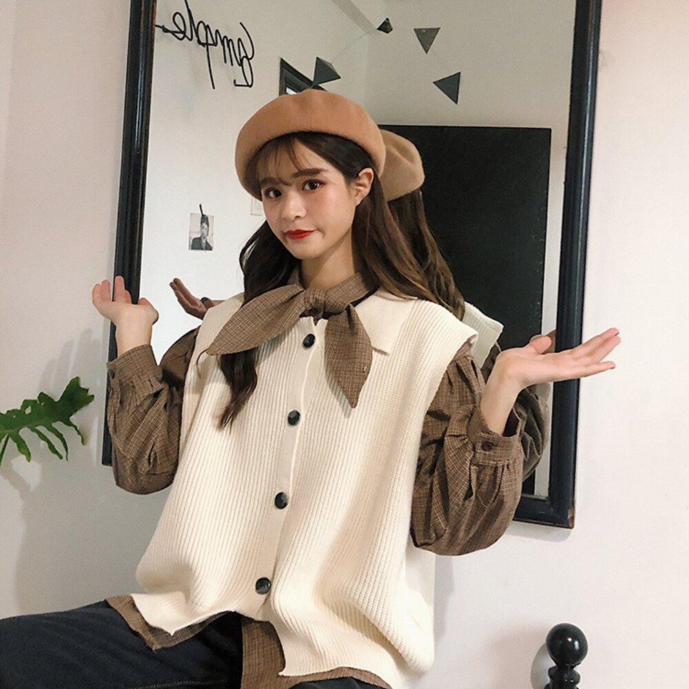 襯衫 chic韓版早春學院風蝴蝶領結格子襯衫針織馬甲兩件套少女 曼慕衣櫃