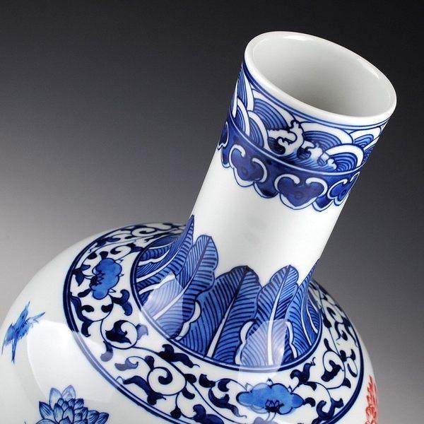 陶瓷器 青花瓷  手繪釉下彩荷花釉里紅天球瓶