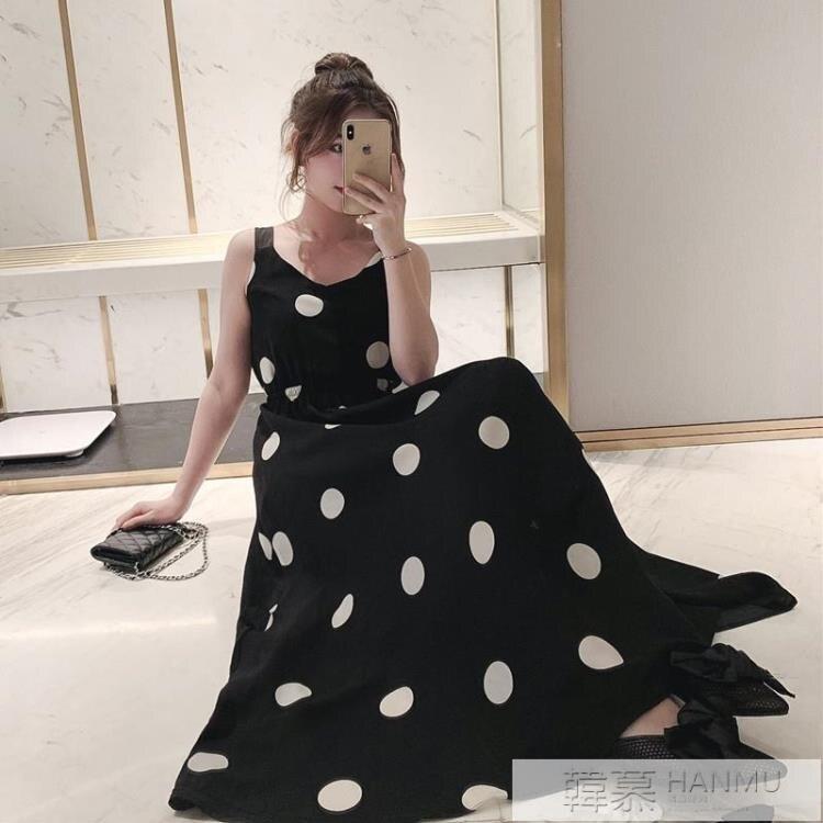 洋裝 夏季新款韓版中長款露背波點吊帶連身裙女法式復古收腰大擺裙