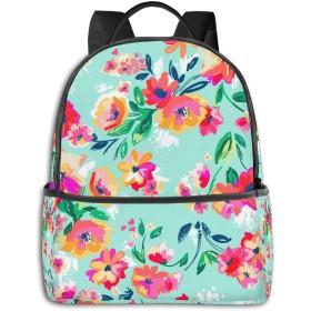 のファッションミニトラベルバックパック、十代の男の子女の子のためのかわいい学校ショルダースクールバッグ女性メンズ-ペイントされた花