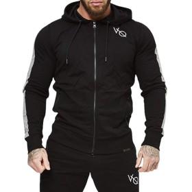 LVFU ジップアップパーカー メンズ 長袖 フード付き パーカー トレーニングウェア トレーナー 秋冬 スポーツウェア スウェットシャツ WY-10 ブラック L