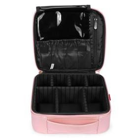 女性用マルチメイクバッグハンドリング収納バッグPU素材 (ピンク)