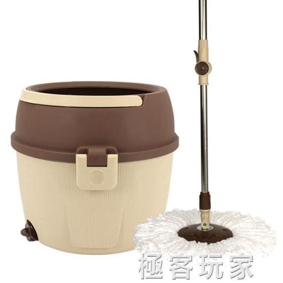 免手洗拖把桶家用幹濕兩用旋轉雙驅動拖布瓷磚木地板單桶筒墩布桶 ATF 『』