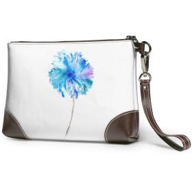 クラッチバッグ ビジネスバッグ バッグ 防水バッグ 花 水彩 青 セカンドバック メンズ レディース 鞄 人気 クラッチ 本革