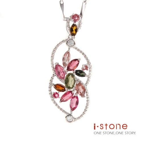 花馨風情碧璽晶鑽純銀項鍊 石頭記