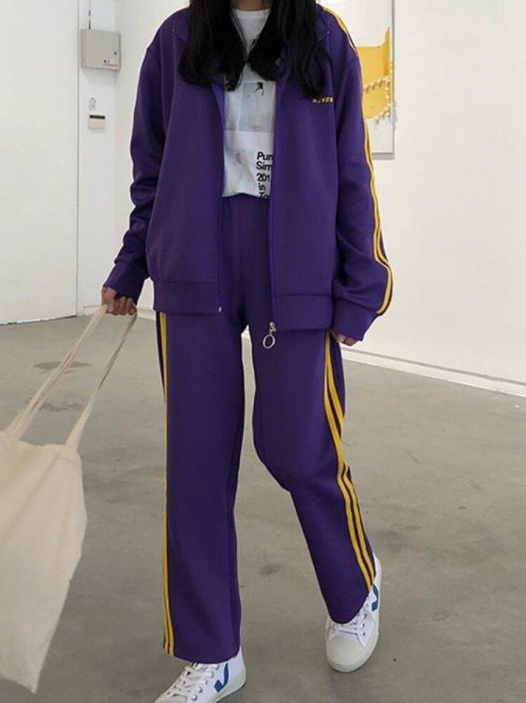 運動套裝 2019秋冬韓版套裝新款女學生外套 長褲休閒運動套裝兩件套原宿潮 曼慕衣櫃