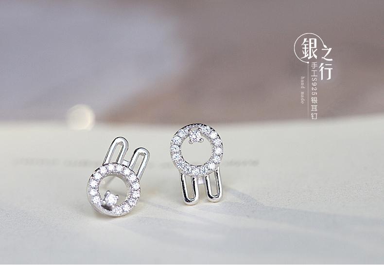 S925銀耳釘女 可愛甜美2015新款時尚飾品小動物兔子