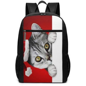 リュック ビジネス パック サンタ猫クリスマス 大容量17インチ 多機能 撥水 通勤 出張 旅行 通学 メンズ レディース