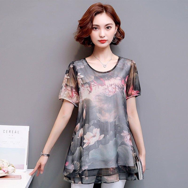 FINDSENSE G5 韓國時尚 蕾絲 夏裝 女裝 寬鬆 中長款 短袖 裙子 雪紡 連身裙