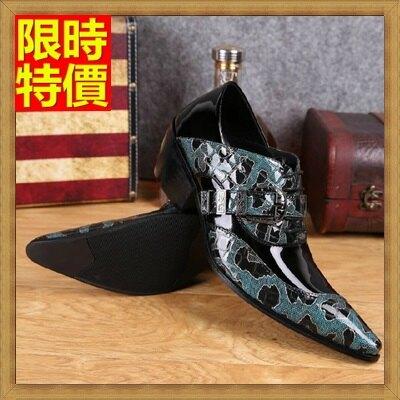 尖頭鞋真皮皮鞋-潮流迷彩拼色個性增高男鞋子65ai27【獨家進口】【米蘭精品】