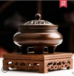 銅香爐香薰爐家用盤香爐純銅茶道檀香爐大號室內熏香爐  聖誕節禮物