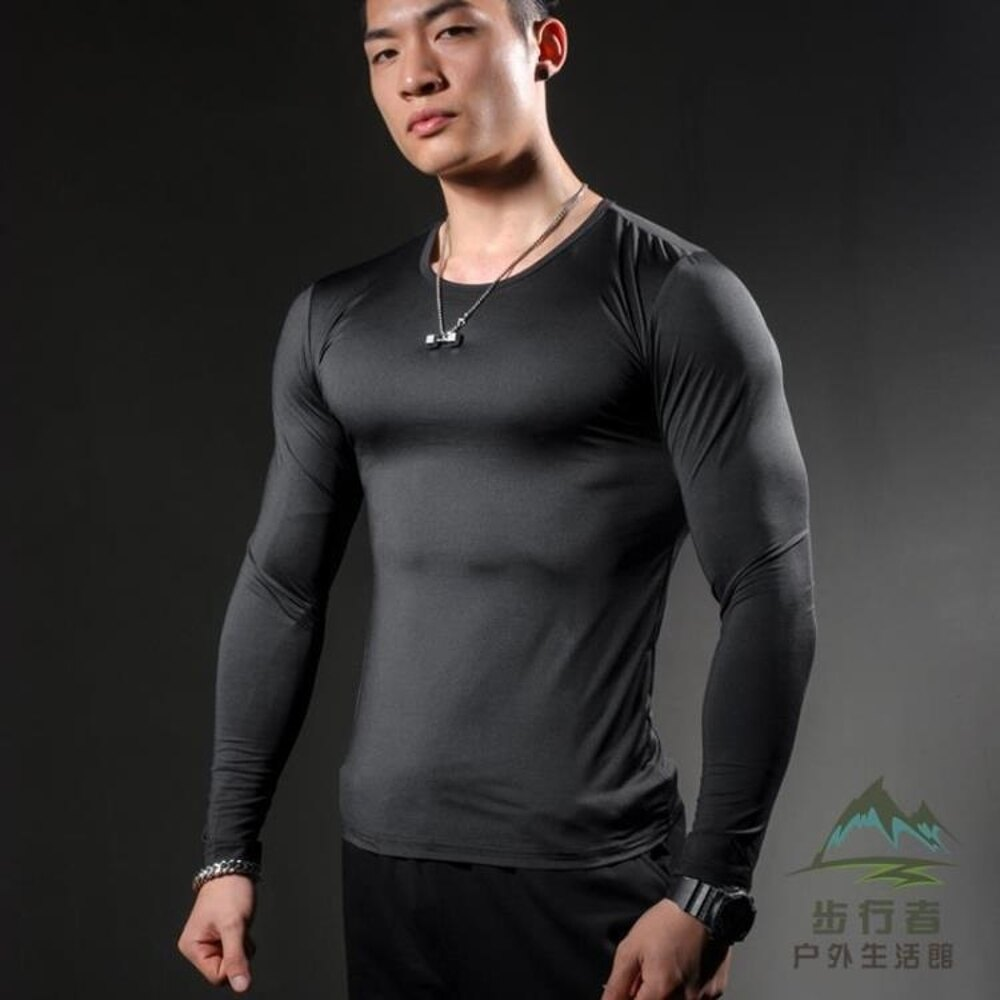 超顯肌肉緊身衣高彈力速干透氣排汗健身服長袖T恤