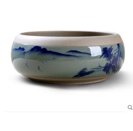 品藍粗陶茶洗烤花彩繪工藝杯(圖一)4