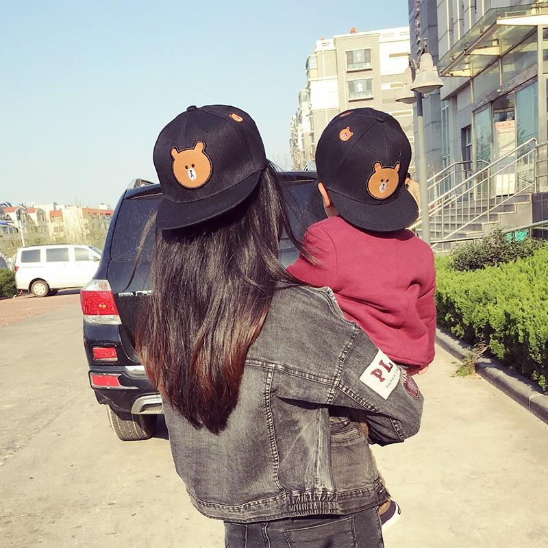 劉詩詩同款兒童韓國甜美可愛卡通 頭帽小熊平沿親子棒球帽韓版帽1入
