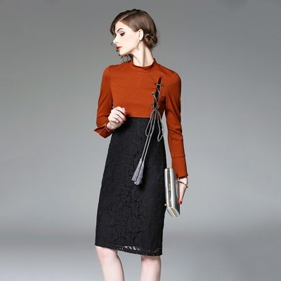 連身裙長袖洋裝-立領針織拼接蕾絲女連衣裙73of148【獨家進口】【米蘭精品】
