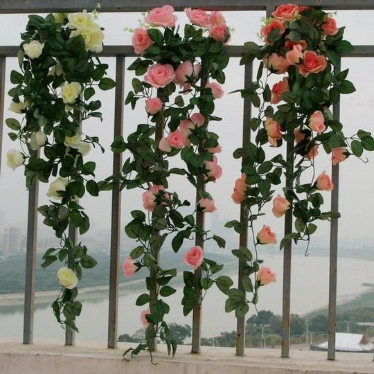 玫瑰藤粉色仿真花藤塑料裝飾品擺設家居牆上 花串吊籃(一個價)(圖一)