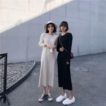 秋も使える♪♪ 限定SALE 韓国ファッション おしゃれな ラウンドネック 怠惰な風 ニット 長袖 スリム カジュアル ワンビース