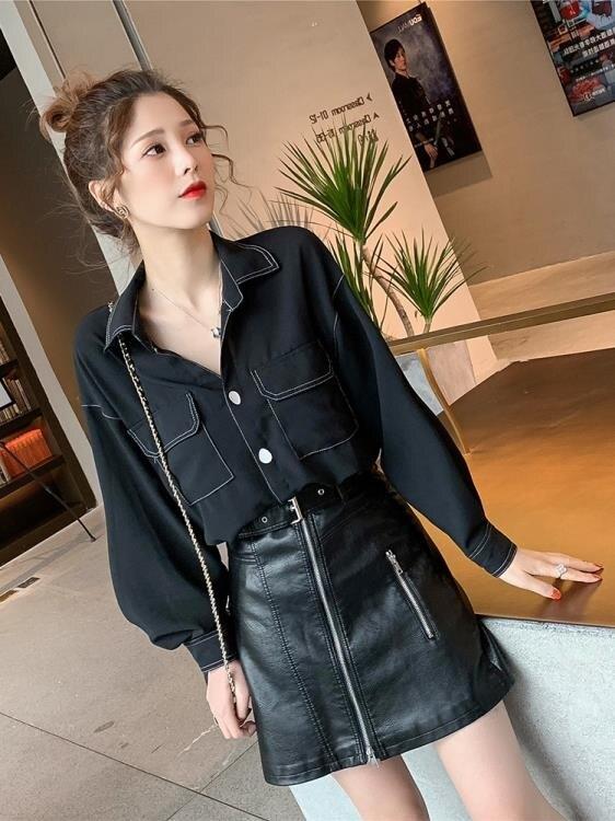 雪紡長袖2019春秋季新款韓版設計感小眾雪紡白襯衫女復古港味心機長袖上衣