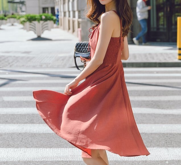 FINDSENSE H1 2018 夏季 新款 復古 磚紅色 吊帶中長款 收腰 仙女裙 學院 女時尚吊帶裙 潮流 連衣裙