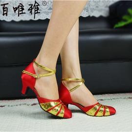 紅金室外膠底34紅金色拉丁舞鞋女成人中跟軟底廣場舞表演鞋交誼恰恰舞鞋演出鞋子