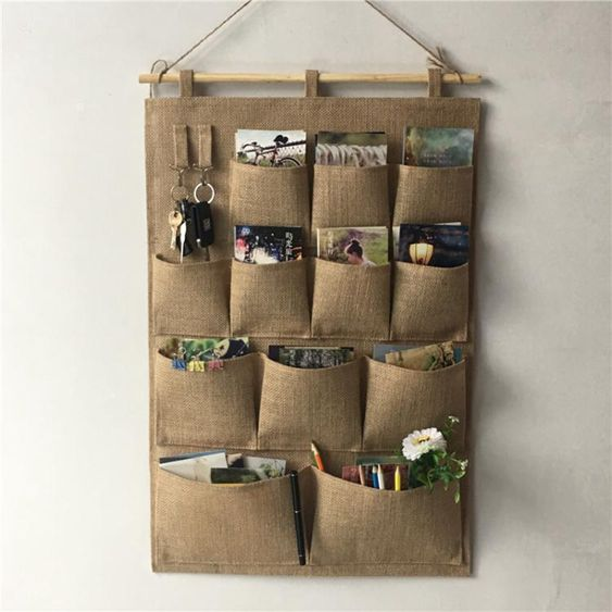 復古黃麻掛袋懸掛式多層收納袋布藝壁掛多層門後掛牆儲物袋