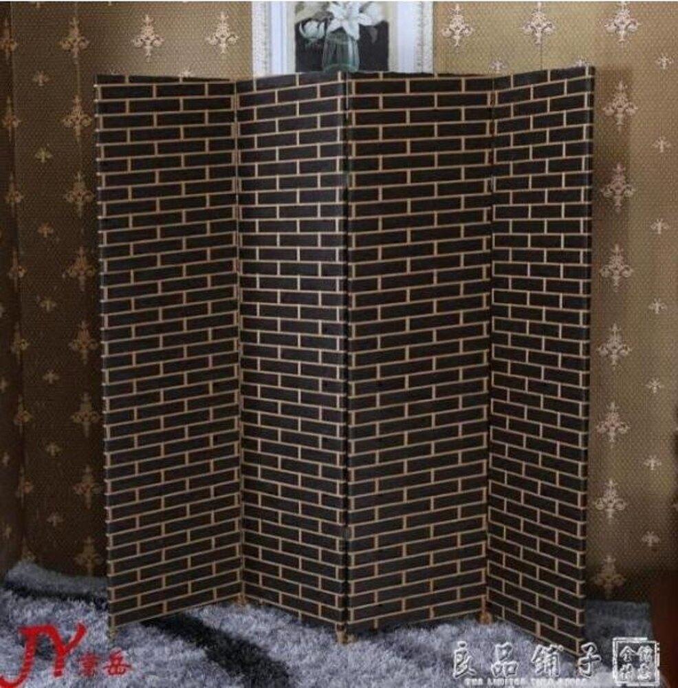 屏風隔斷客廳現代簡約 簡易折疊屏風玄關牆 中式實木行動酒店折屏定制