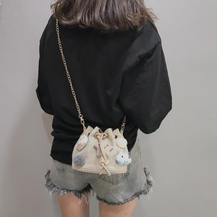 韓版抽帶水桶包女 女款小包 復古女生可愛包包 甜美女包 時尚單肩斜挎女包包包 女生斜挎包 女包
