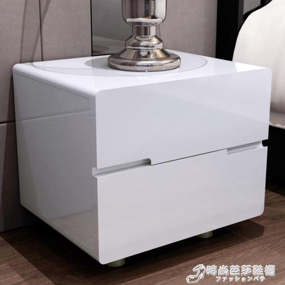 白色床頭櫃 簡約現代床邊櫃特價烤漆簡易歐式儲物櫃組裝整裝斗櫃WD