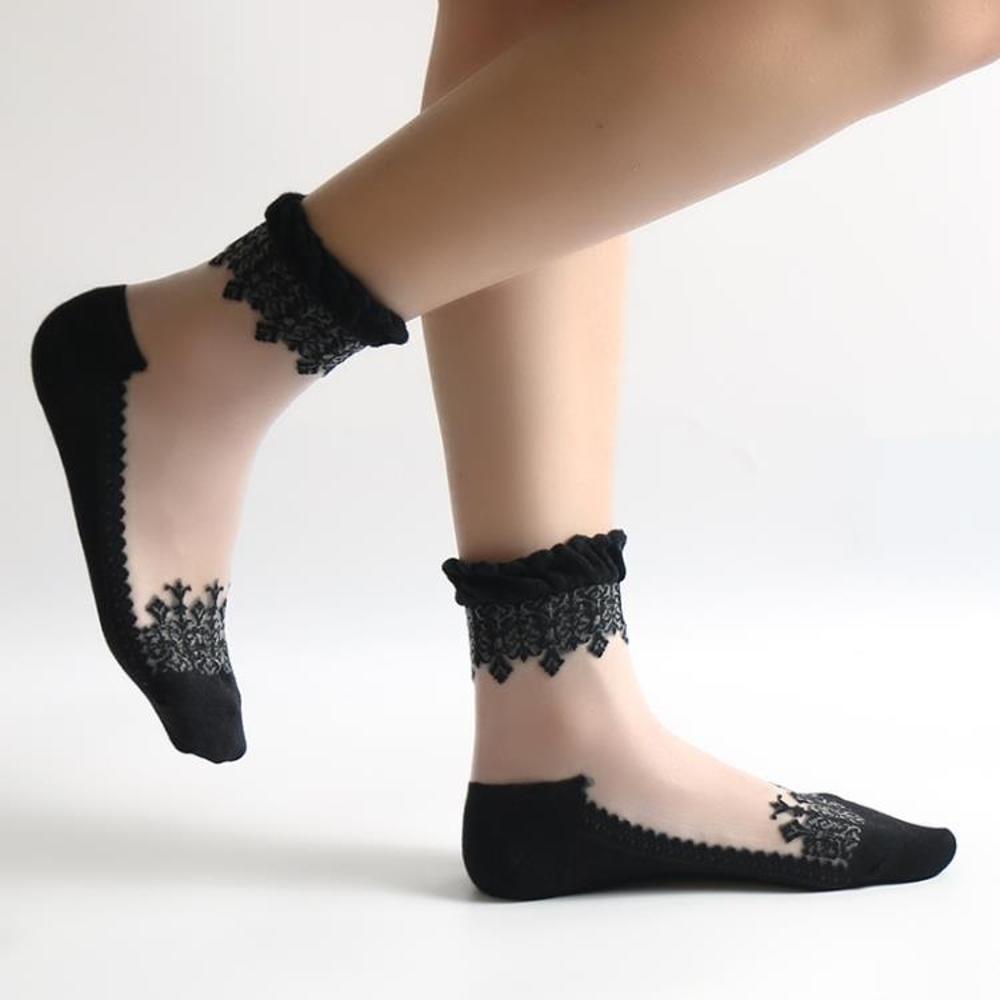 女童蕾絲襪 冬愛防滑棉底絲襪短襪女透明水晶襪薄款蕾絲花邊透氣玻璃絲襪子女 BBJH