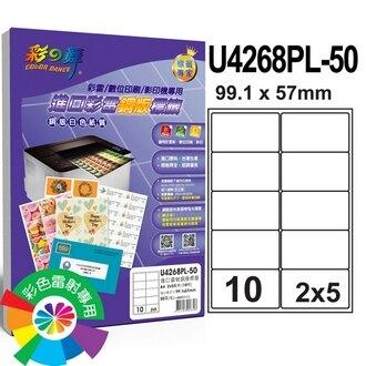 彩之舞 U4268PL-50 進口彩雷銅版標籤 2x5/10格圓角(99.1*57mm) - 50張/包