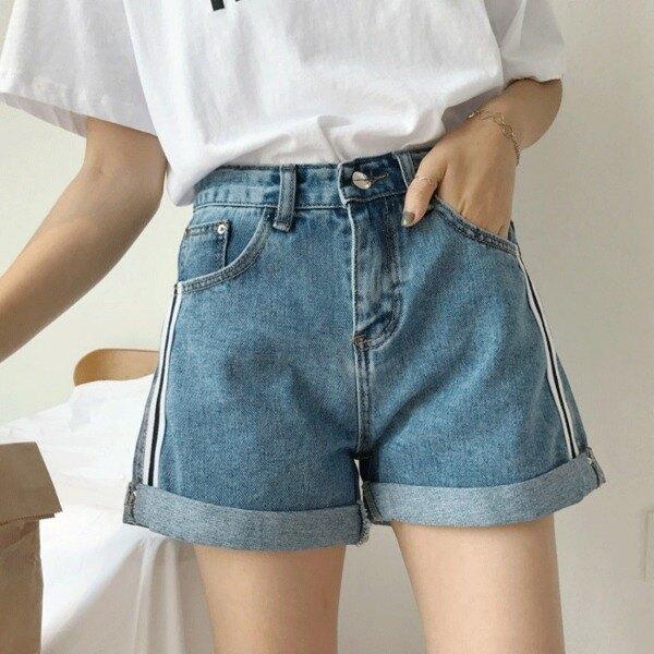 [超豐國際]夏裝高腰寬松卷邊牛仔短褲條紋拼接闊腿短褲熱褲女潮1入