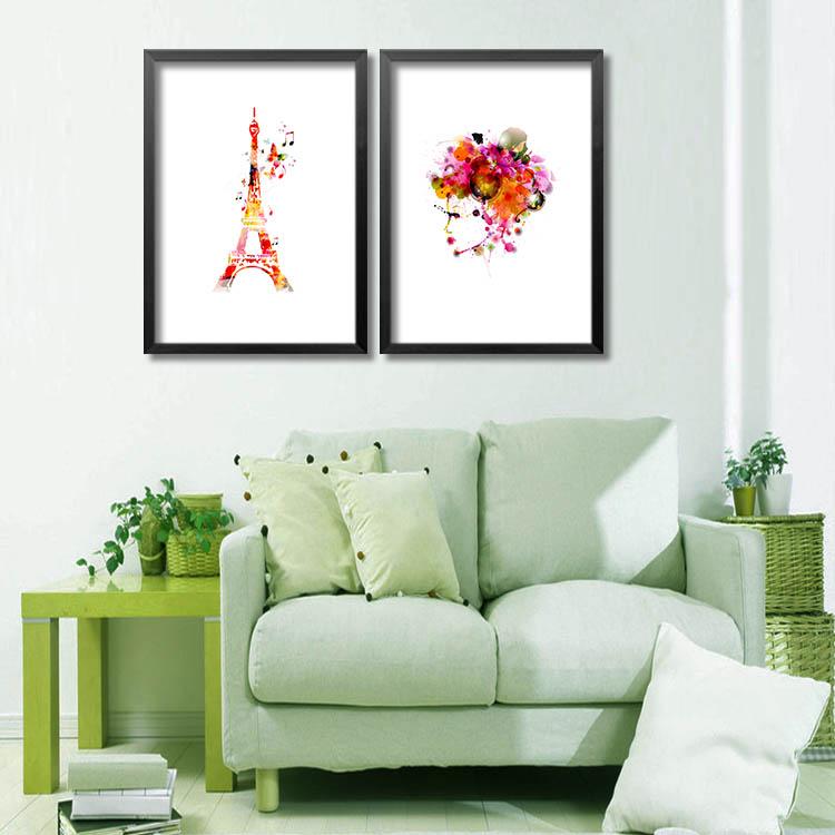 [銀聯網] 客廳裝飾畫抽像水彩風格壁畫(黑框) 1入