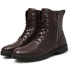 [Dong] ブーティー チェルシーブーツ メンズ サイドゴア ビジネスブーツ ウイングチップ ブーツ 秋冬 防寒 防水 防滑 ワークブーツ おしゃれ ハイカット イングランド風 革靴 ブラウン 27.0cm ブラック ライダースブーツ