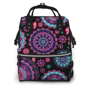 色付きの美しいMan羅おむつバッグバックパック、多機能防水マタニティベビー授乳おむつバックパックベビーカーストラップと旅行の男の子/女の子、大型&スタイリッシュ&耐久性-色付きの美しいMan羅