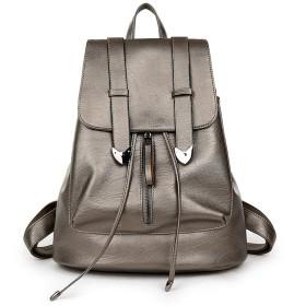 女性革バックパック高品質大容量旅行バッグパックレディースヴィンテージバックパック女子校生女性リュックサック、ブロンズバックパック、L37cm W32cm Thk15cm