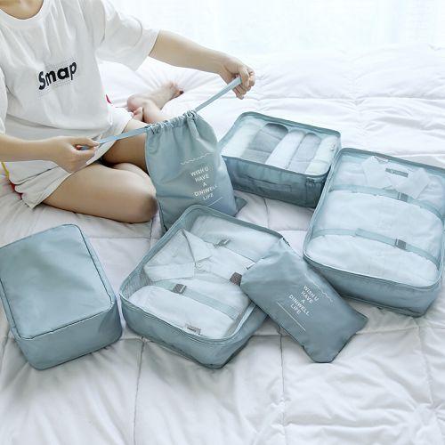 ✤宜家✤旅行收納袋6件套裝 行李箱衣服整理包 旅遊衣服鞋子內衣收納包