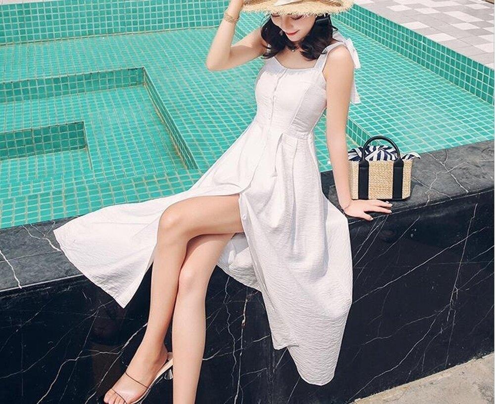 吊帶連身裙夏季新款氣質性感一字領露背裝高腰修身大擺長裙 都市時尚