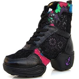 黑色35夏季廣場舞鞋女式現代舞蹈鞋真皮女網面透氣爵士跳舞鞋新款