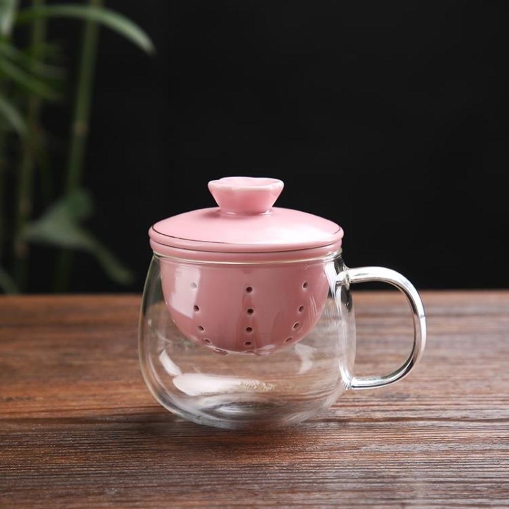 泡茶杯 茶杯茶水杯DH 過濾 茶杯陶瓷 家用耐熱透明玻璃 帶蓋泡茶杯 花茶杯 杯子套裝 99免運